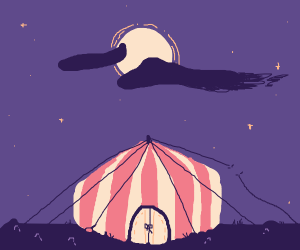 A circus tent under a bright moon