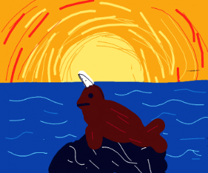 Narwhal in the sunrise