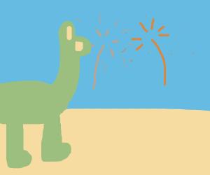 Dinosaurs watching fireworks