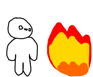 owo person stares at fire