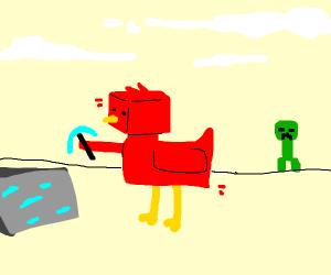 Red Minecraft chicken mining