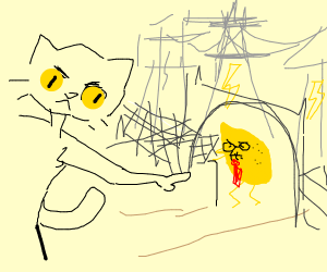 Cat forces old lemon to work at a power plant