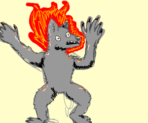 a werewolfs head on fire and hes freaking out