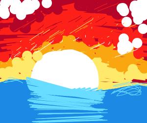 Sunset on a huge lake