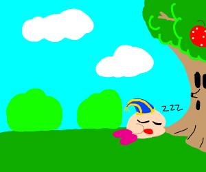 Kirby Sleeps Next To Whispy Woods