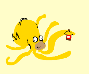 homer octopus holding duff beer