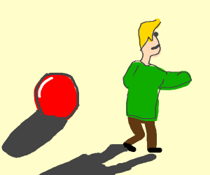 A ball and a guy but with shadows