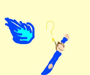 confused superhero is hit by comet