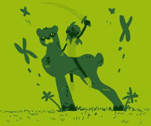 A Green Woman Riding A Green Tiger