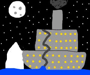 Titanic hits the iceberg