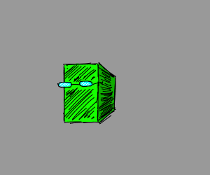 Green block with glasses