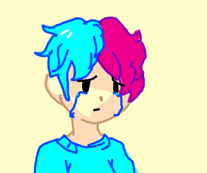 crying pink haired boy/girl not sure which