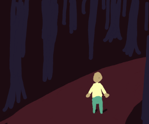 A long walk in the woods.
