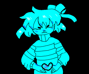 Girl with a blue heart in her hands
