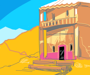 Abandoned building in sand land