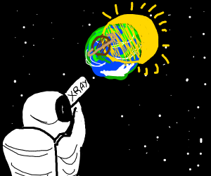 astronaut looking past earth (10/10 drawing)