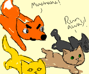 Cats run from Fox