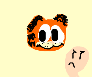 giant garfield face and man whos angry