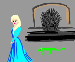 Elsa with a lizard and game of thrones