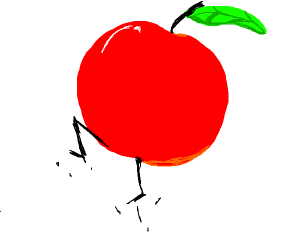 A red apple with legs