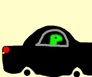 the general insurance mascot drives a car