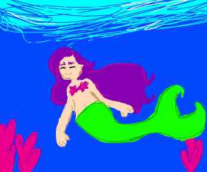 Mermaid with purple hair