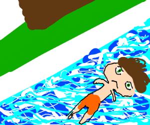 Depressed sim in a pool