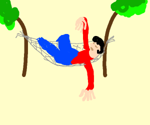 Man with floppy arms in hammock