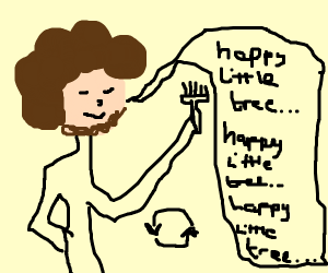 "Bob Ross stuck repeating ""haPpy uttle tree"""