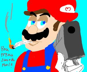 Mario smokes