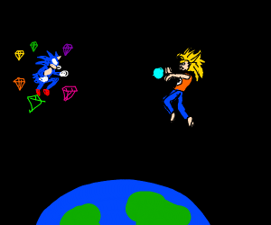 sonic & super saiyan goku battling above eart