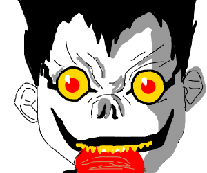 Ryuk enjoying an apple (Deathnote look it up)
