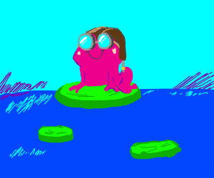Pink frog with aviator hat+goggles on lilypad