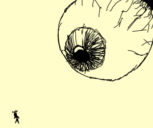 tiny stick lady looks at giant sky eyeball