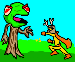 Evil Kermit tree vs deer-man superhero