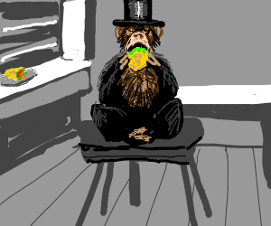 A monkey with a tophat eating a taco