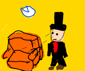 Small man in a top hat looks at furniture