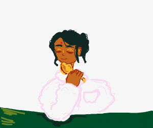 Indian Woman In White Robes Enjoys chicken