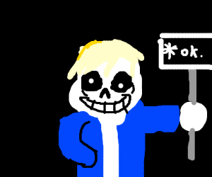 sans with blond hair and ok sign