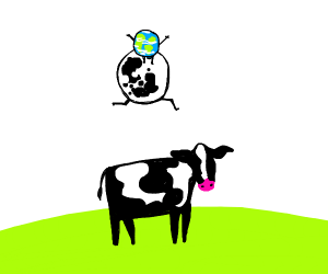 Earth on the moon jumping over a cow