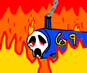 Thomas the tank engine is fine in a fire
