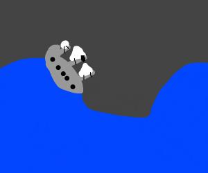 ship at sea in storm