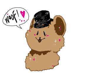 Cute doggo with lil top hat says woof