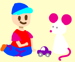 Kid playing his toy car with a white mouse