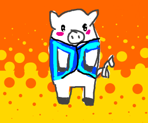 White pig wearing a blue vest