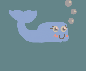 Lil whale in the ocean