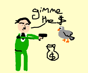 Hitler uses a gun to rob a pigeon