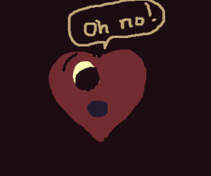 Realistic heart with one eye says OH NO!