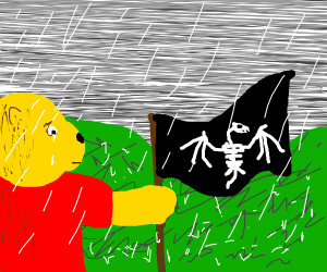 Poo Bear Crying and holding a dragon flag