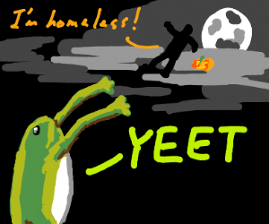 homeless trick or treater gets yeeted by frog
